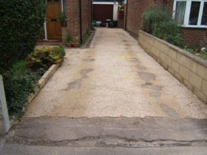 the driveway before resin bound paving