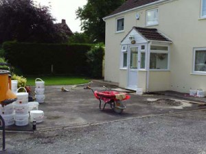 Driveway before resin bound paving surface is applied