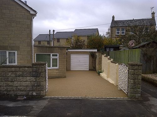 A new driveway in Corsham Wiltshire in resin bound paving laid by PJJ of Trowbridge Wiltshire Sureset approved installer