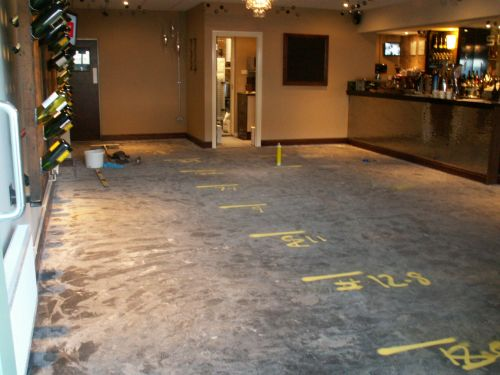 Resin bound alternative for indoor flooring in a bar Suave Westbury Wiltshire before photo