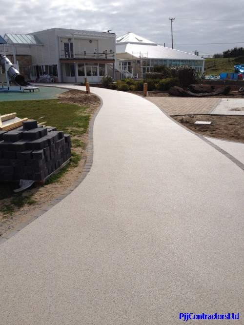 Holiday park new resin bound paving path Ronacrete approved installer